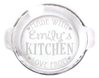 Personalized Engraved 9in Pie Plate with handles baking dish for your kitchen etching 7430 Made with Love Personalized