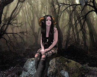 Wildwood Faun, Mouse pad, fantasy mouse pad, faun, satyr, goth, goth girl, girl satyr, electronic mouse pad, computer mouse pad
