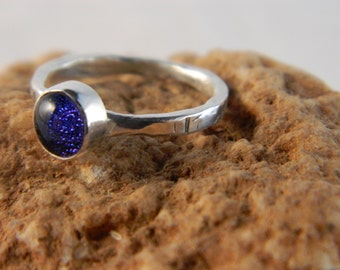 Dichroic Glass and Silver Stack Ring