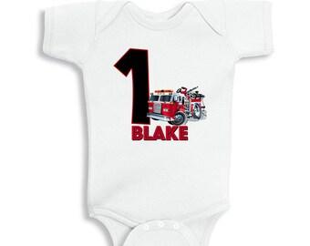 Firetruck 1st Birthday Personalized Bodysuit or T-Shirt