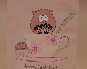 Owl birthday card / greetings card teacup design