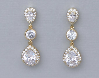 GOLD Crystal Drop Bridal Earrings, Crystal Teardrop Wedding earrings, Gold Bridal Jewelry, Wedding Jewelry, Bridesmaids gift earrings