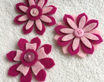 Felt Flowers Embellishments...3 Piece Set of Very Sweet and Sassy Blush Pink and Berry Buttoned Felt Flowers Set 1 Scrapbook Embellishments
