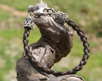 Brunette Braided Horsehair Bracelet With Rope Silver Plate Clasp