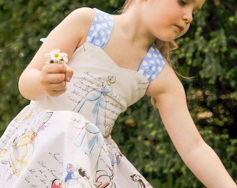Cinderella, Snow White, Belle  Peekaboo Tie Back  Dress (12-18 months, 2T, 3T, 4T, 5, 6,7, 8)