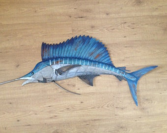 Sailfish Metal 48in Wall Art Fish sculpture Handmade Beach Coastal Tropical Ocean