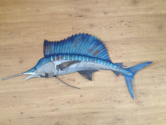 Sailfish Metal 48in Wall Art Fish sculpture Handmade Beach Coastal Tropical Ocean Fishing
