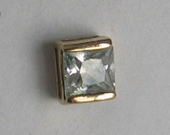 6mm  CZ Single Square Vintage  Gold over Sterling  Post Earring