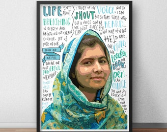 Malala Yousafzai quote print / poster hand drawn type / typography