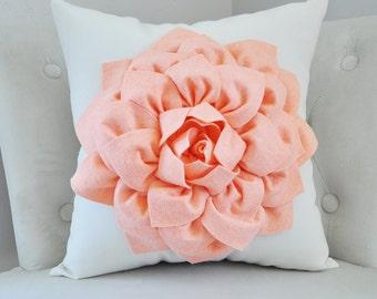 Peach Dahlia Pillow Throw Pillow- Georgia Peach Dahlia on Cream Pillow Cover - Salmon - Pink Solid Pillow - Peach Home Decor