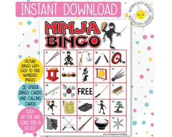 Ninja Karate Printable Bingo Cards (30 Different Cards) - Instant Download