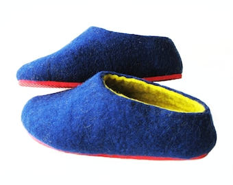 Boiled Wool House Shoes Handmade Wool Slippers Felted Wool Shoes Christmas gifts Warm House Slippers Felt Shoes Rubber Soles, Parents Gifts