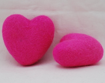 100% Wool Felt Heart - 2 Count - 6cm - Hot Pink