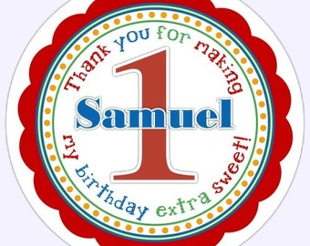 Custom First Birthday Labels, 1st Birthday Stickers, Birthday Decoration, Personalized Children Stickers,