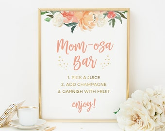 Peach Momosa sign PRINTABLE. Blush Mom-osa Baby shower sign INSTANT DOWNLOAD Floral Baby Shower decorations, Tea party sign, Floral Bar sign