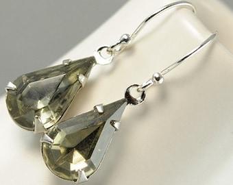 Glass Earrings. Black Diamond Jewel Earrings in Sterling Silver. Dangle Earrings. Drop Earrings. Sweden Earrings in Petite Black Diamond