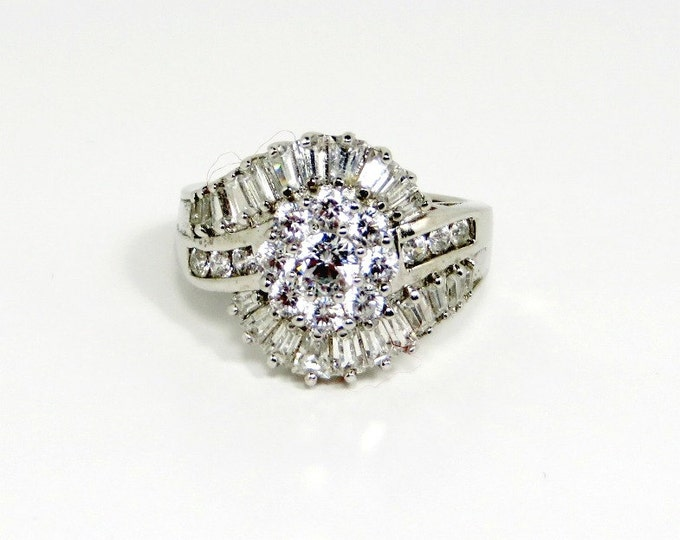 CZ Cocktail Ring, Vintage Sterling Silver Ring, Multistone Engagement Ring, Sparkly Statement Ring