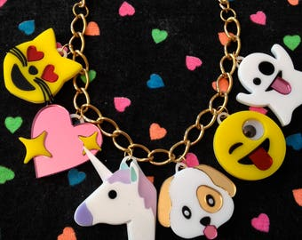 Emoji Love Acrylic Charm Necklace, Cat, Heart, Unicorn, Puppy, Winky Face & Ghost Laser Cut Acrylic, Plastic Jewelry