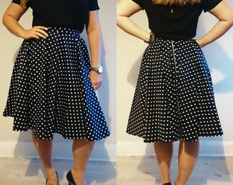 Handmade Vintage Style Navy Full Circle Skirt with White Polkadots