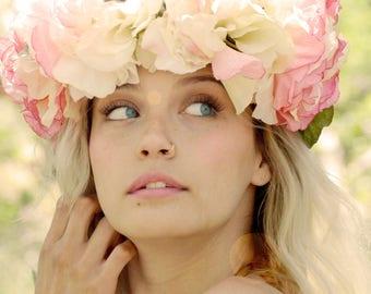 white and pink flower crown, silk wedding crown, floral wedding forest bride boho bohemian indie bride, hippie headband halo