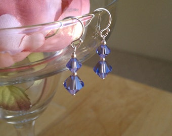 Light Amethyst Swarovski Crystal(Tanzenite) Bicone Shaped Dangle Earrings