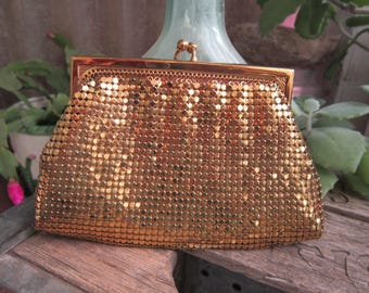 Whiting & Davies Co Gold Mesh Coin Purse Vintage 1940's Wallet Snap Clasp Evening Bag Purse Collectible Gift Idea