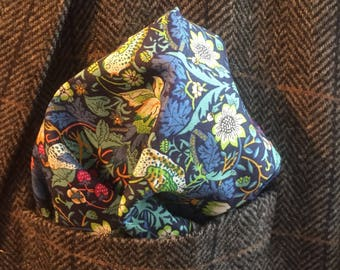 Liberty Pocket Square, William Morris Strawberry Thief  -Green, Cotton Handkerchief, Gift For Men, Wedding Accessory, Groomsmen