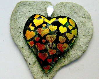Fused Dichroic Glass Hearts Pendant