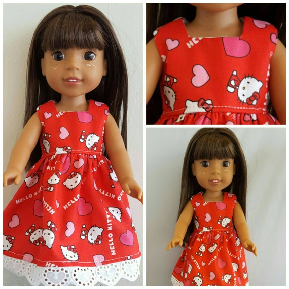 Hearts and Hello Kitty Valentine Dress For the 14 Inch doll Wellie