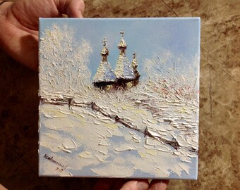 Winter Painting Small Art Work Impasto Old Ukrainian Church Painting Miniature Gift For Ukrainian Lover Christmas Present Tiny Canvas Snow