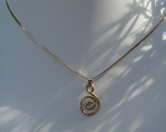 Silver necklace with spiral