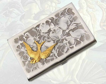 Swallow Business Card Case Inlaid in Hand Painted Enamel Neo Victorian Bird Metal Wallet Custom Colors and Personalized Options
