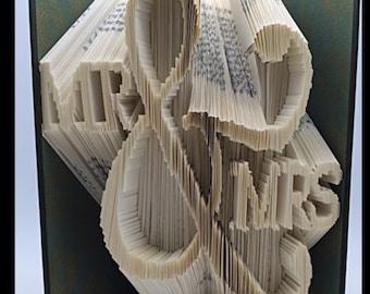 Folded Book Art- Mr & Mrs Wedding
