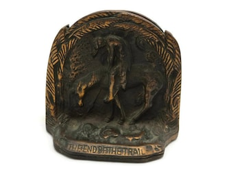 End of the Trail Bookends - Cast Metal Indian on Horse