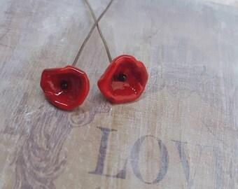 2 clous en verre de Murano filé à la flamme, fleurs blanches, SAHP28