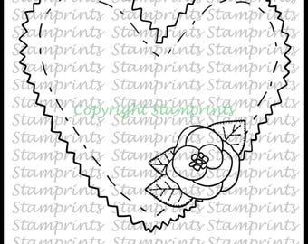 Felt Heart with Flower (TLS-1720) Digital Stamp. Cardmaking.Scrapbooking.MixedMedia.