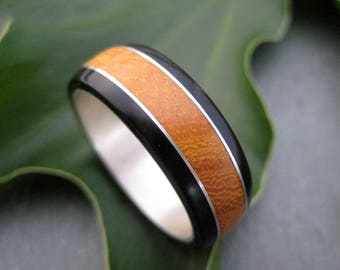 Moran Fuerte Wood Ring - ecofriendly wedding ring recycled sterling silver, mens wood wedding ring, wood band, wooden wedding ring,