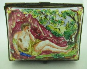 Antique Multi Colored Capodimonte Porcelain Hand Painted Box w/ Pastorial Scene.