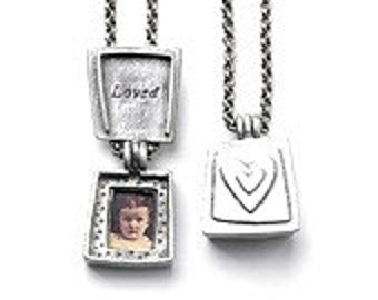Loved Locket Charm - Contemporary Pewter Necklace