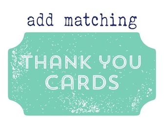 80 Printed Matching Thank You Notes Twin Elephants