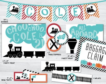 train party printables, train party decorations, train party package, train party, train party signs, train party banner, train party decor