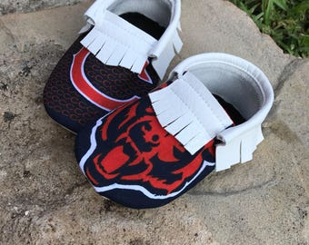 Chicago Bears Baby Moccasins - Handmade Moccs // Baby Moccs // Football Moccasins // TEXAS MOCCS // Baby Moccasins