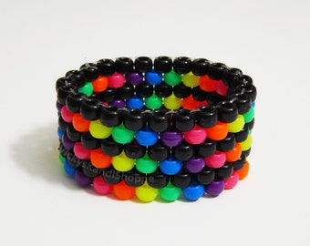 Rainbow and Black Stripe Kandi Cuff