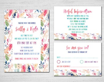 Watercolour Wedding invite, Colourful Modern Wedding Invite Watercolor