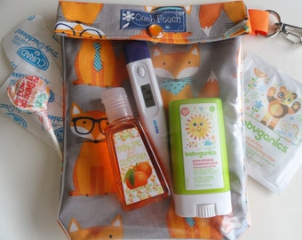 Foxes Ouch Pouch with Clip First Aid Baby Supplies Travel Organizer Diaper Bag Car Purse Goodie Bag Party Favor (5x7 Medium) Kids Under 15