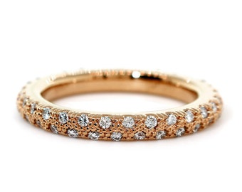 Solid Stackable Diamond Eternity Band, 0.53CT in 14K Pink, Rose Gold
