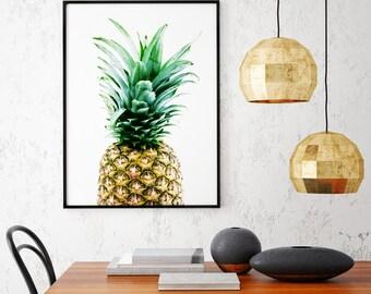 Pineapple Photography Print, Pineapple Print, Tropical Print, Dining Room Decor, Kitchen Decor