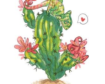 Chameleon Love Greeting Card