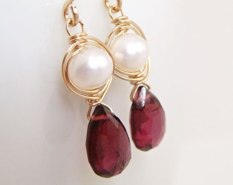 Garnet and Pearl Earrings 14k Gold Fill, January Birthstone Gemstone Jewelry, Handmade Dangle Earrings, aubepine