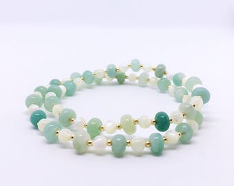 Amazonite Bracelet, Calming Bracelet, Anxiety Bracelet, Mother of Pearl, Gold Filled, Amazonite Jewelry, Anxiety Jewelry, Calming Jewelry